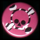 "1"" Inch Zebra Print Crossbones on Hot Pink Background Punk Princess Button Badge Pin - 0751"