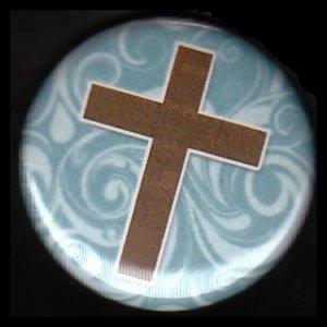Brown Cross on Turquoise Pattern Background, One Inch Religious Button Badge Pin - 1136