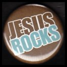 Jesus Rocks on Brown Background, One Inch Religious Button Badge Pin - 1144