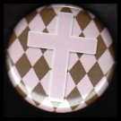 Pink Cross on Pink and Brown Harlequin Background, One Inch Religious Button Badge Pin - 1156