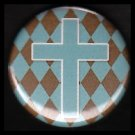 Turquoise Cross on Harlequin Background, One Inch Religious Button Badge Pin - 1166