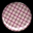 Pretty in Plaid in Pink and Tan, 1 Inch Pin Back Button Badge  - 1053