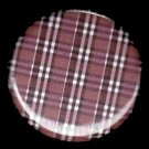 Pretty in Plaid in Red and Brown, 1 Inch Pin Back Button Badge  - 1055
