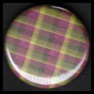Pretty in Plaid in Green and Red, 1 Inch Pin Back Button Badge  - 1061
