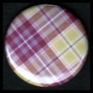 Pretty in Plaid in Shades of Mauve, 1 Inch Pin Back Button Badge  - 1075