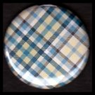 Pretty in Plaid in Shades of Blue and Yellow, 1 Inch Pin Back Button Badge  - 1077