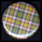 Pretty in Plaid in Shades of Red and Green, 1 Inch Pin Back Button Badge  - 1078