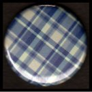 Pretty in Plaid in Shades of Blue, 1 Inch Pin Back Button Badge  - 1079