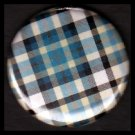 Pretty in Plaid in Shades of Blue and White, 1 Inch Pin Back Button Badge  - 1081