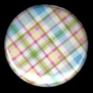 Pretty in Plaid in Green Pink Yellow Blue, 1 Inch Button Badge Pin - 1089