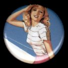 Mid Century Pin Up Girl Saluting, Retro 1 Inch Button Badge Pin - 1108