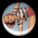 Mid Century Pin Up Exercise Girl, Retro 1 Inch Button Badge Pin - 1112