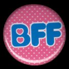BFF on Pink Polka Dot Background, 1 Inch BFF Button Badge Pinback - 2133