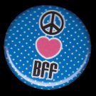Peace Sign, Heart BFF on Blue Polka Dot Background, 1 Inch BFF Button Badge Pinback - 2135