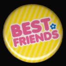 Best Friends on Yellow Background, 1 Inch BFF Button Badge Pinback - 2139