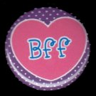 BFF in Pink Heart on Purple Background, 1 Inch BFF Button Badge Pinback - 2141