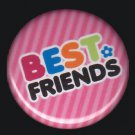 Best Friends on Pink Stripe Background, 1 Inch BFF Button Badge Pinback - 2143