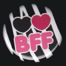 Hearts BFF on Zebra Background, 1 Inch BFF Button Badge Pinback - 2144
