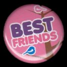 Best Friends Bird Pink Background, 1 Inch BFF Button Badge Pinback - 2148