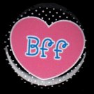 Heart BFF on Black Polka Dot Background, 1 Inch BFF Button Badge Pinback - 2153
