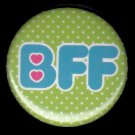 BFF on Green Polka Dot Background, 1 Inch Friendship Button Badge Pinback - 2154