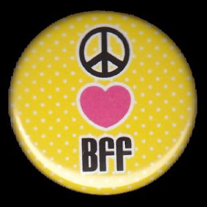 Peace Heart BFF on Yellow Polka Dot Background, 1 Inch Friendship Button Badge Pinback - 2162