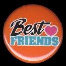 Best Friends on Orange Background, 1 Inch Friendship Button Badge Pinback - 2163