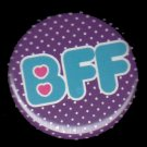 BFF on Purple Polka Dot Background, 1 Inch Friendship Button Badge Pinback - 2164