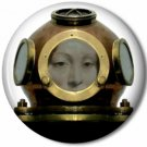 Lady Diver 1, Steampunk 1 Inch Pinback Button Badge - 6049