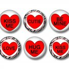 Valentine's Day Red Conversation Hearts, Set of 12 1 Inch Pinback Buttons