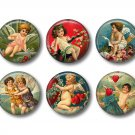 Vintage Valentine's Day Graphics, 12 1 Inch Pinback Buttons - Set 1