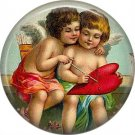 Vintage Valentine's Day Graphics 1 Inch Pinback Button Badge - 2100