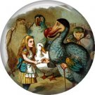 Alice with Dodo Bird, Classic Alice in Wonderland 1 Inch Button Badge - 0061