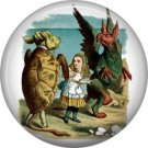 Alice with Mock Turtle and Gryphon, Alice in Wonderland 1 Inch Button Badge - 0059