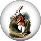 Withe Rabbit Checking Watch, Alice in Wonderland 1 Inch Button Badge Pin - 0057