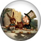 Mad Hatter and March Hare at Tea Party, Classic Alice in Wonderland 1 Inch Button Badge - 0056