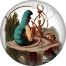 Caterpillar on Mushroom, Classic Alice in Wonderland 1 Inch Button Badge Pin - 0053