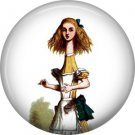 Curiouser and Curiouser, Classic Alice in Wonderland 1 Inch Button Badge Pin - 0052