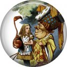 Playing Croquet with the Queen, Classic Alice in Wonderland Button Badge Pin - 0051