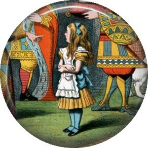 Off With Her Head, Classic Alice in Wonderland 1 Inch Button Badge Pin - 0050