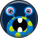 Not so Scary Blue Monster on Navy Background, 1 Inch Pinback Button - 0024