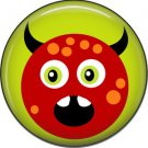 Not so Scary Red Monster on Lime Green Background, 1 Inch Pinback Button - 0022