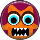 Not so Scary Orange Monster on Burgundy Background, 1 Inch Pinback Button - 0021