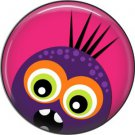 Not so Scary Purple Monster on Pink Background, 1 Inch Pinback Button - 0020