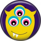 Not so Scary Yellow Monster on Violet Background, 1 Inch Pinback Button - 0019
