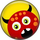 Not so Scary Red Monster on Yellow Background, 1 Inch Pinback Button - 0017