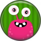 Not so Scary Pink Monster on Green Background, 1 Inch Pinback Button - 0016