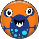 Not so Scary Blue Monster on Orange Background, 1 Inch Pinback Button - 0015