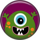 Not so Scary Green Monster on Purple Background, 1 Inch Pinback Button - 0014