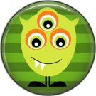 Not so Scary Green Monster on Stripe Background, 1 Inch Pinback Button - 0012